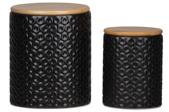 UTC50955 Ceramic Round Canister with Wooden Lid and Pressed Dotted Design Body Set of Two Coated Finish Black