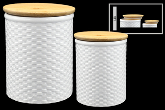 UTC50956 Ceramic Round Canister with Brown Top Lid and Weave Pattern Design Body Set of Two Coated Finish White
