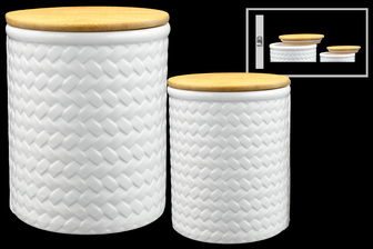 UTC50957 Ceramic Round Canister with Brown Top Lid and Diagonal Weave Pattern Design Body Set of Two Coated Finish White