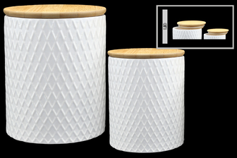 UTC50958 Ceramic Round Canister with Brown Top Lid and Diamond Pattern Design Body Set of Two Coated Finish White