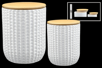 UTC50959 Ceramic Round Canister with Engrave Scale Pattern Design Body Set of Two Coated Finish White