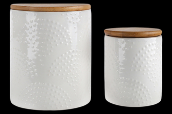 UTC50961 Ceramic Round Canister with Top Bamboo Lid and Embossed Pan Pattern Dots Design Body Set of Two Gloss Finish White