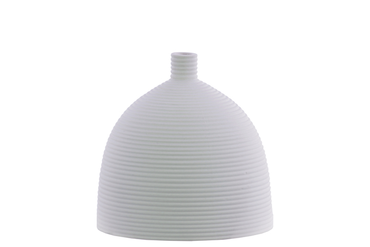 UTC51010 Ceramic Bellied Round Vase with Small Mouth, Short Neck and Ribbed Design Body SM Coated Finish White