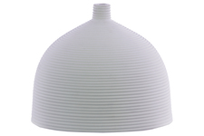 UTC51012 Ceramic Bellied Round Vase with Small Mouth, Short Neck and Ribbed Design Body LG Coated Finish White