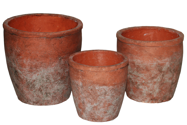 UTC51104 Ceramic Short Wide Round Flower Pot Set of Three Washed Finish Vermilion