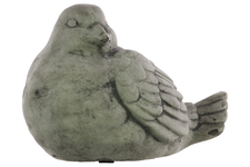 UTC51200 Cement Sitting Bird Figurine with Head Turned Sideward Concrete Finish Gray