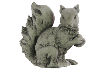 UTC51204 Cement Sitting Squirrel Figurine with Head Turned Sidewards and Hands Crossed Concrete Finish Gray