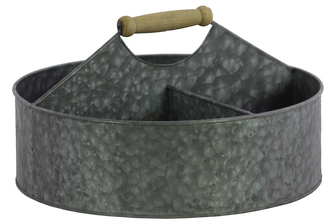 UTC51300 Metal Round Storage Basket with 4 Slots and Wood Handle Galvanized Finish Gray