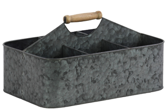 UTC51301 Metal Rectangular Storage Basket with 6 Slots and Wood Handle LG Galvanized Finish Gray