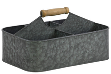 UTC51302 Metal Rectangular Storage Basket with 5 Slots and Wood Handle SM Galvanized Finish Gray