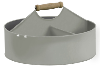 UTC51305 Metal Round Storage Basket with 4 Slots and Wood Handle Coated Finish Gray