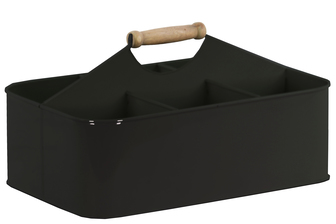 UTC51306 Metal Rectangular Storage Basket with 6 Slots and Wood Handle Coated Finish Black