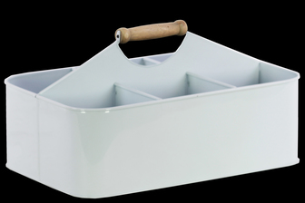 UTC51307 Metal Rectangular Storage Basket with 6 Slots and Wood Handle Coated Finish White