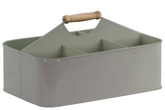 UTC51308 Metal Rectangular Storage Basket with 6 Slots and Wood Handle Coated Finish Gray