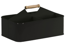 UTC51309 Metal Rectangular Storage Basket with 5 Slots and Wood Handle Coated Finish Black