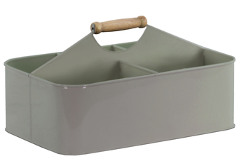 UTC51311 Metal Rectangular Storage Basket with 5 Slots and Wood Handle Coated Finish Gray