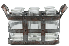 UTC51312 Metal Bud Vase Holder with Side Handles and 6 Clear Round Bottles Tarnished Finish Gray