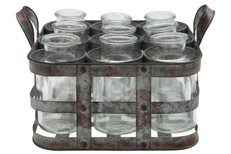 UTC51313 Metal Bud Vase Holder with Side Handles and 9 Clear Round Bottles Tarnished Finish Gray