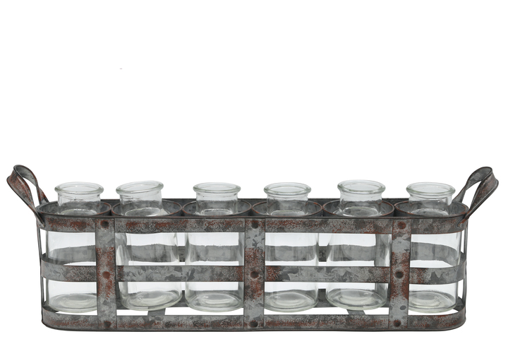 UTC51315 Metal Bud Vase Holder with Side Handles and 6 Clear Round Bottles Tarnished Finish Gray