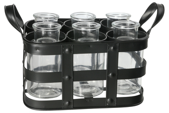 UTC51316 Metal Bud Vase Holder with Side Handles and 6 Clear Round Bottles Tarnished Finish Black