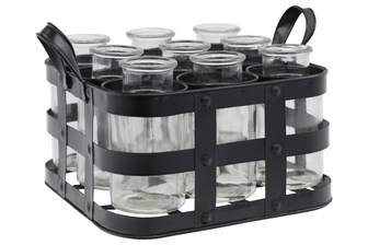 UTC51317 Metal Bud Vase Holder with Side Handles and 9 Clear Round Bottles Painted Finish Black