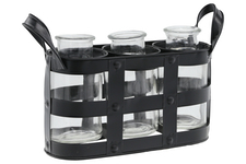 UTC51318 Metal Bud Vase Holder with Side Handles and 3 Clear Round Bottles Tarnished Finish Black