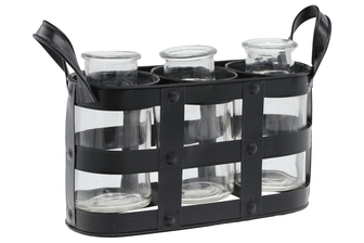 UTC51318 Metal Bud Vase Holder with Side Handles and 3 Clear Round Bottles Painted Finish Black