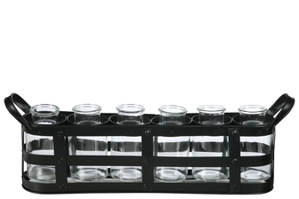 UTC51319 Metal Bud Vase Holder with Side Handles and 6 Clear Round Bottles Coated Finish Black