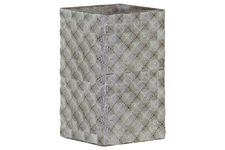UTC51502 Cement Tall Square Pot with Embossed Rectangle Design Body LG Concrete Finish Gray