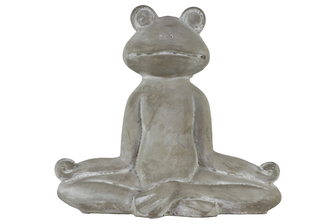 UTC51511 Cement Meditating Frog Figurine in Lotus Position Concrete Finish Gray