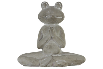 UTC51512 Cement Meditating Frog Figurine in Lotus Position with Arms Together Concrete Finish Gray