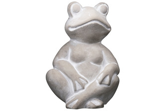 UTC51522 Cement Sitting Frog Statue in Cross-Legs Position Washed Finish Gray