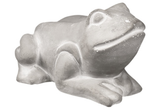 UTC51523 Cement Frog Statue in Resting Position Washed Finish Gray