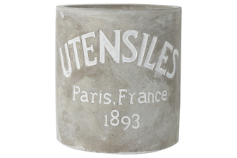"UTC51525 Cement Round Utensil Jar with Engraved ""UTENSILES Paris France 1893"" Smooth Finish Gray"