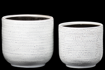 UTC51808 Ceramic Round Pot with Black Inner Surface and Dotted Glazed Pattern Design Body Set of Two Gloss Finish Ivory