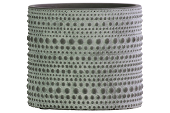 UTC51904 Terracotta Round Pot with Embossed Circles Pattern Design Body and Tapered Bottom Washed Finish Gray