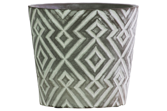 UTC51906 Terracotta Round Pot with Embossed Diamond Pattern Design Body and Tapered Bottom Washed Finish Gray