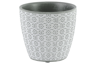 UTC51907 Terracotta Round Pot with Floral Design Body and Tapered Bottom Washed Finish Charcoal Gray