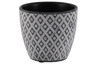 UTC51908 Terracotta Round Pot with Diamond Design Body and Tapered Bottom Washed Finish Black