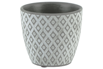 UTC51909 Terracotta Round Pot with Diamond Design Body and Tapered Bottom Washed Finish Gray