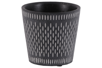 UTC51910 Terracotta Round Pot with Lattice Oblong Design Body and Tapered Bottom Washed Finish Black