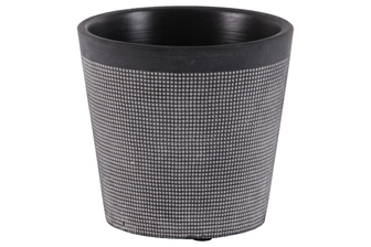 UTC51911 Terracotta Round Pot with Lattice Square Design Body and Tapered Bottom Washed Finish Black
