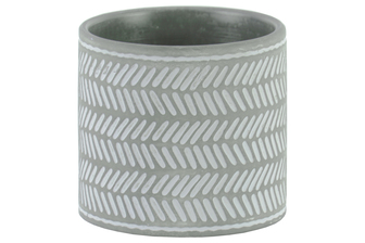 UTC51913 Terracotta Round Pot with Lattice Parallel Lines Design Body and Tapered Bottom Washed Finish Gray