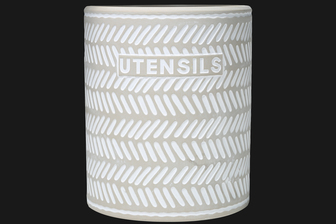 UTC51916 Terracotta Round Utensil Jar with Embossed UTENSILS Writing and Diagonal Cut Off Line Pattern Design Body Washed Finish Gray