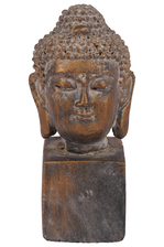 UTC52000 Cement Buddha Head with Round Ushnisha Head on Rectangular Base Tarnished Finish Bronze