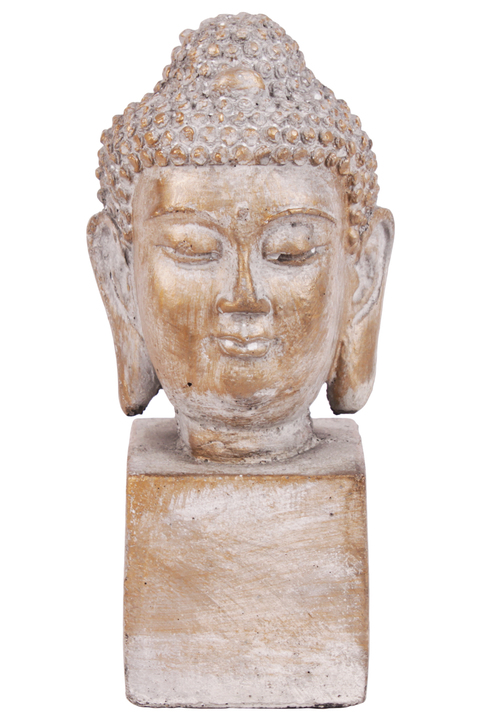 UTC52001 Cement Buddha Head with Round Ushnisha Head on Rectangular Base Washed Finish Light Gray