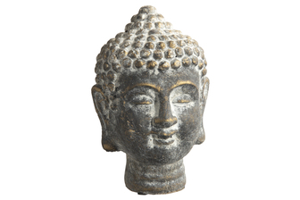 UTC52005 Cement Buddha Head with Round Ushinisha Head Washed Concrete Finish Gold