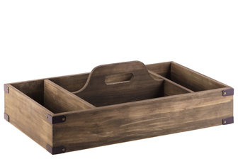 UTC52159 Wood Rectangular Tray with Handle and 4 Slots Natural Finish Brown