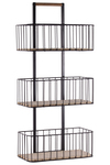 UTC52163 Metal Cart with 3 Tier Shelves and Wood Surface Coated Finish Black
