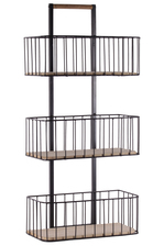 UTC52163 Metal Standing Shelf with Top Wooden Handle and Tiers Coated Finish Black